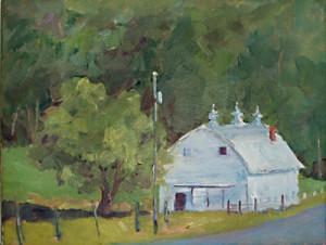 White Barn in Blue Grass