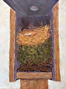 3 Nests in Bluebird Box - wren, chickadee, bluebird